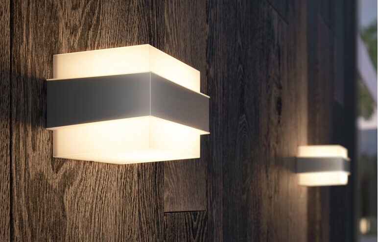 modern exterior lighting at night on wood walls