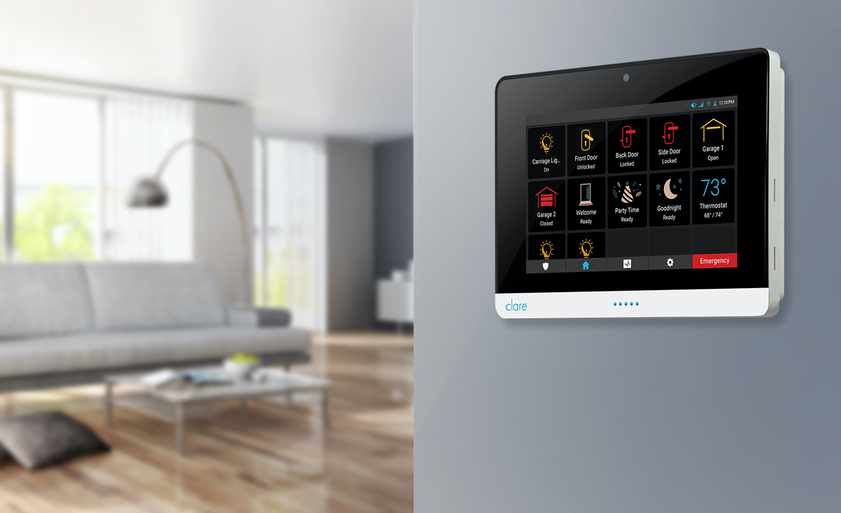 Smart Home Panel mounted on wall with a living room in the background