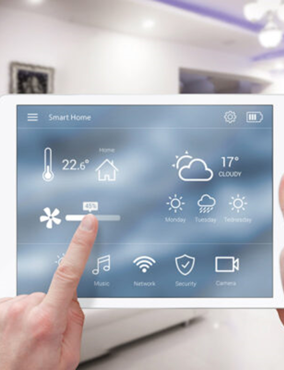 smart home automation being controlled on a tablet