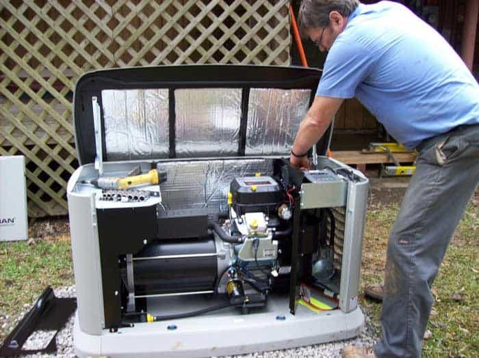 Matt from Intel Electric doing generator repair for a client